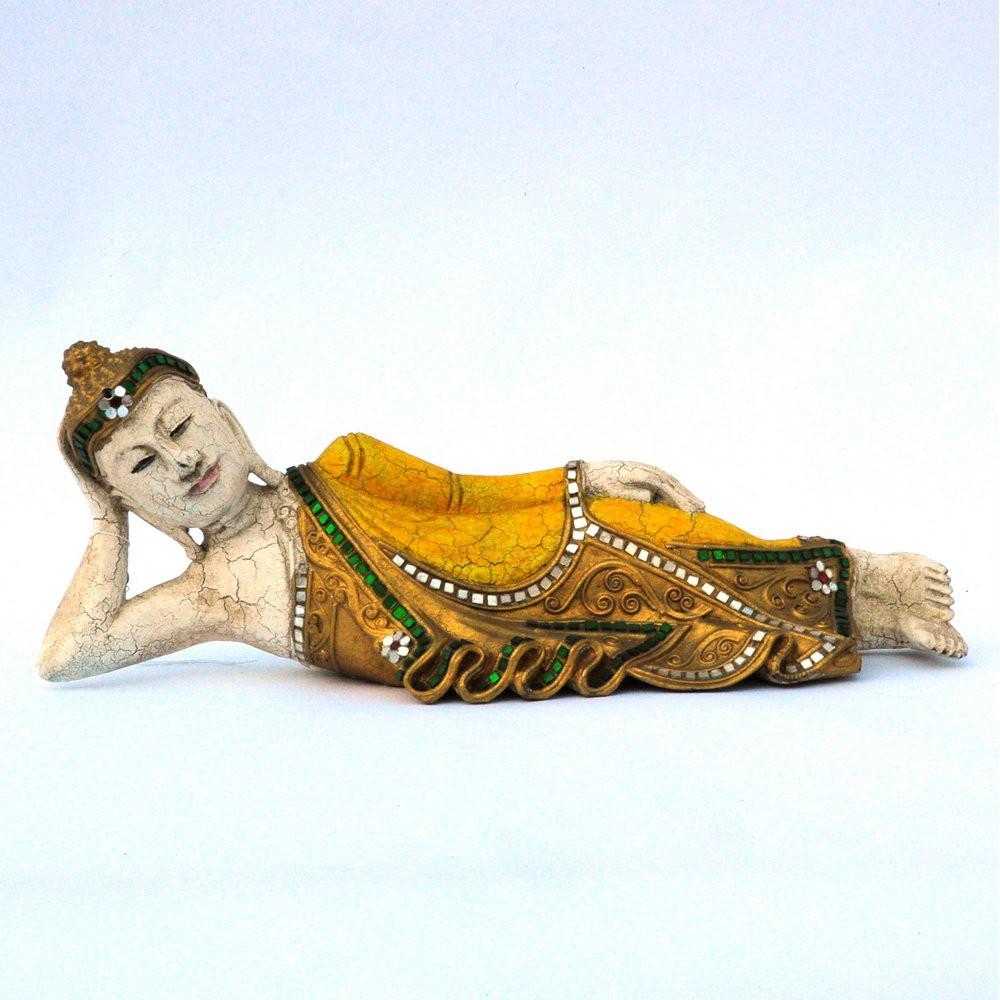 Buddha liegend Holz gelb 41cm