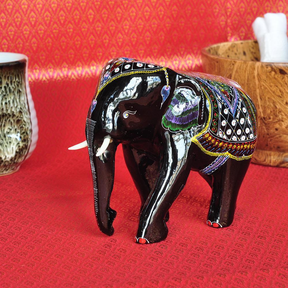 Elefant Holzelefant Laquerware Thai Deko 11 cm