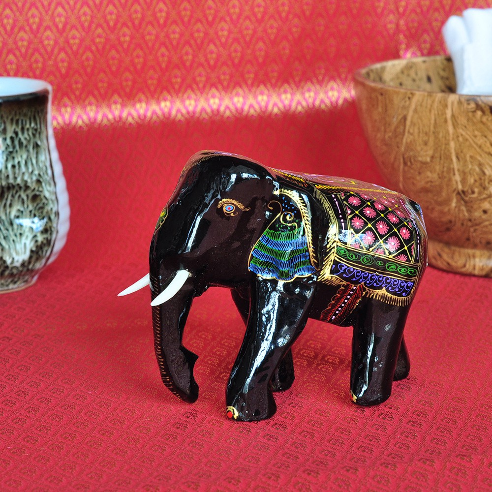 Elefant Holzelefant Laquerware Thai Deko 9 cm