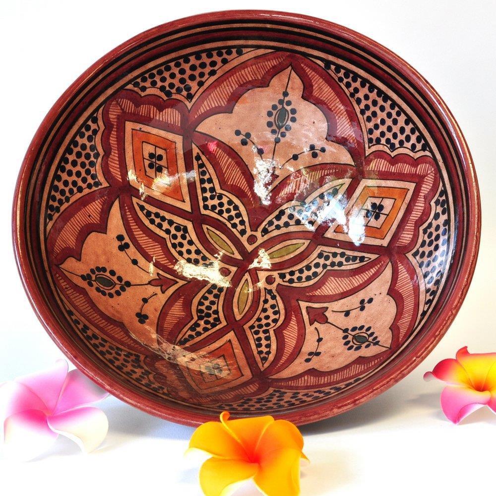 Schale Obst Keramik Wandteller Marokko braun 30x13cm