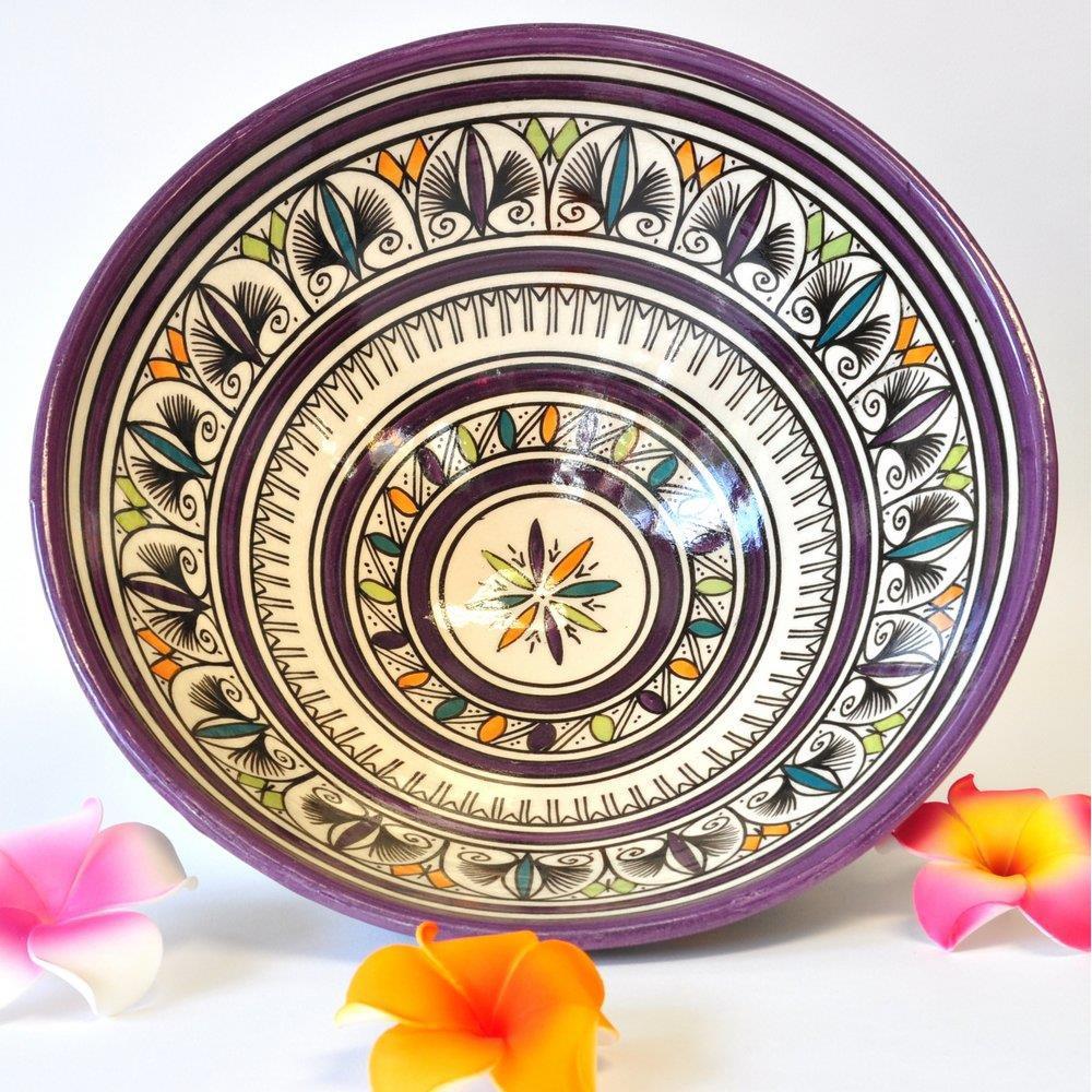 Schale Obst Keramik Wandteller Marokko weiß violett 30x13cm