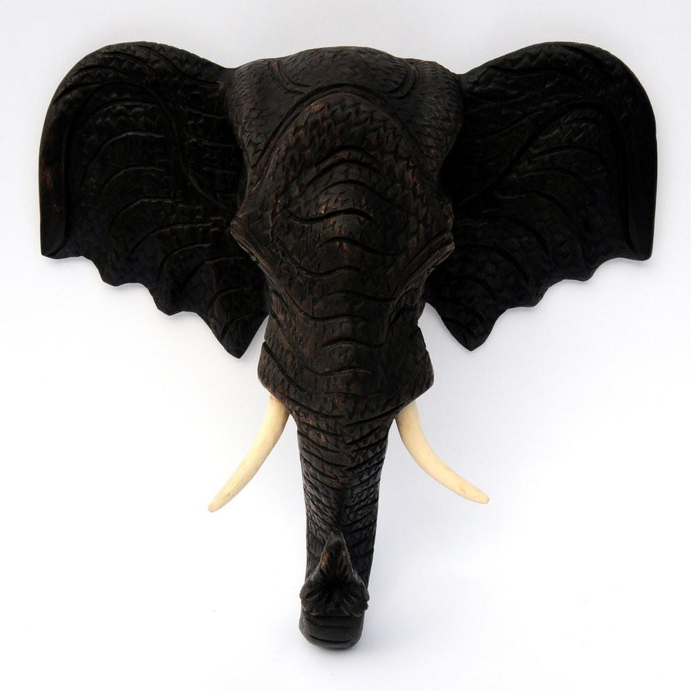 Wandbild Elefant Kopf Holz Thailand 55cm