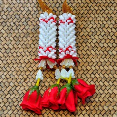 Flowers artificial flowers wreath Puang Malai red 15cm