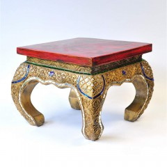 Opium table solid teak wood decorated red gold 30cm