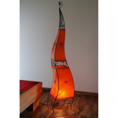 Oriental lamp from Morocco metal and leather red 150cm
