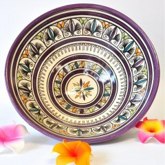 Fruit bowl ceramic wall plate Morocco 30x13cm white violet