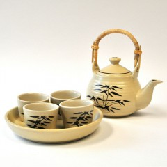 Tea cup set with ceramic plate beige