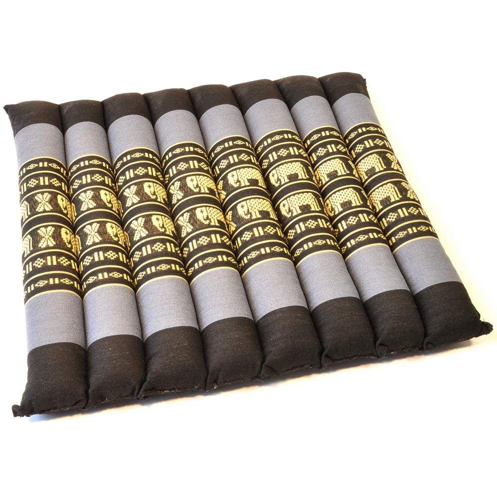 kissen thai sitzkissen matte elefanten 35x35cm schwarz blau. Black Bedroom Furniture Sets. Home Design Ideas