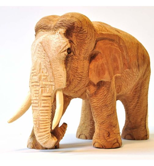 Wooden Elephant Thai decoration natural light 12cm high