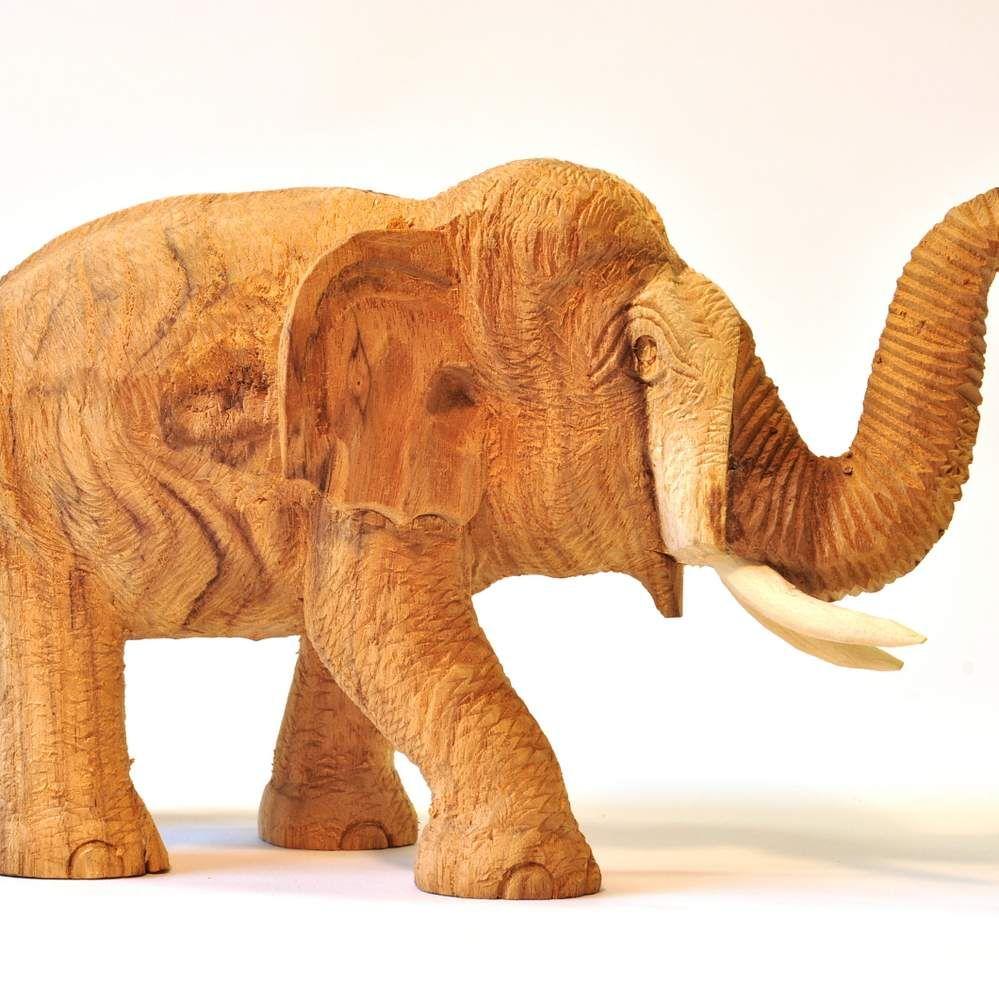 holz elefant thai deko natur hell 12cm hoch r ssel oben. Black Bedroom Furniture Sets. Home Design Ideas