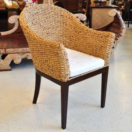 stuhl mit armlehnen rattan wasserhyazinthe g nstig kaufen. Black Bedroom Furniture Sets. Home Design Ideas