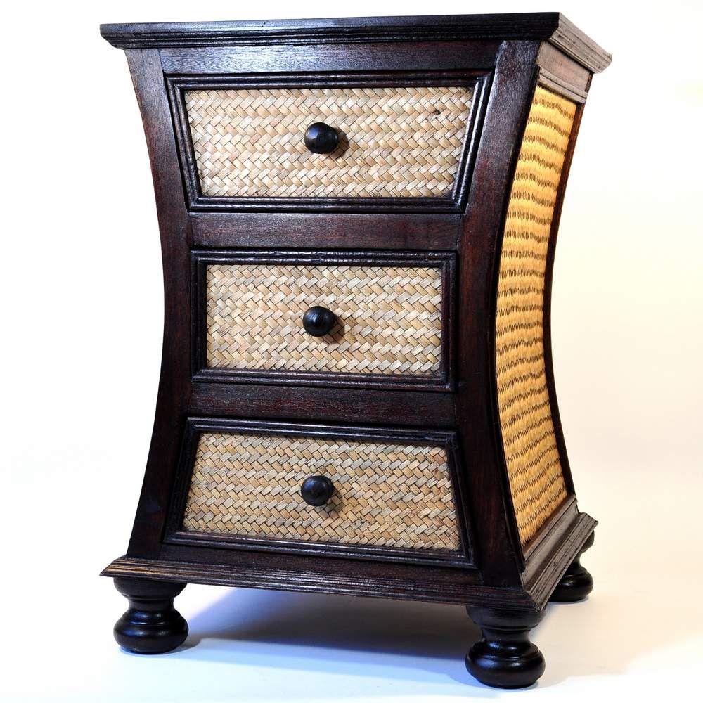 kommode beistelltisch bambus mango holz 3 schubladen. Black Bedroom Furniture Sets. Home Design Ideas