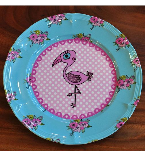 SuperSOSO! Runder Teller Design Pink Flamingo