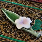 Incense sticks incense holder ceramic green flower violet 14cm