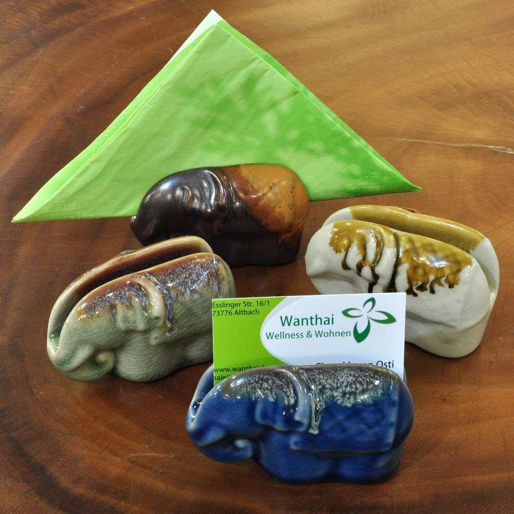 Keramik Visitenkartenhalter Serviettenhalter Elefant
