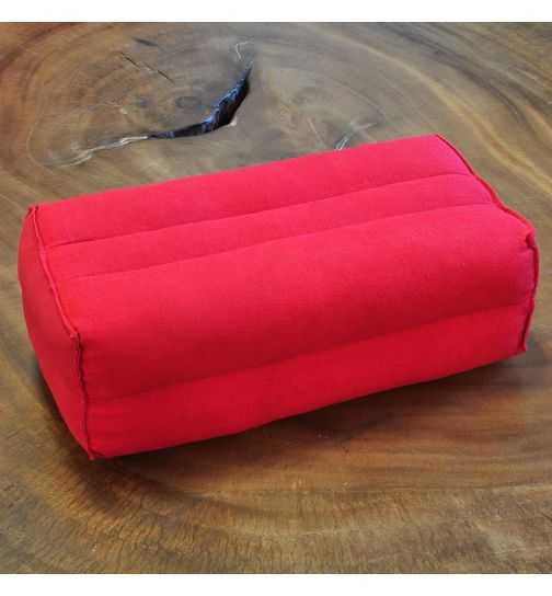 Small elongated Thai cotton pillow red