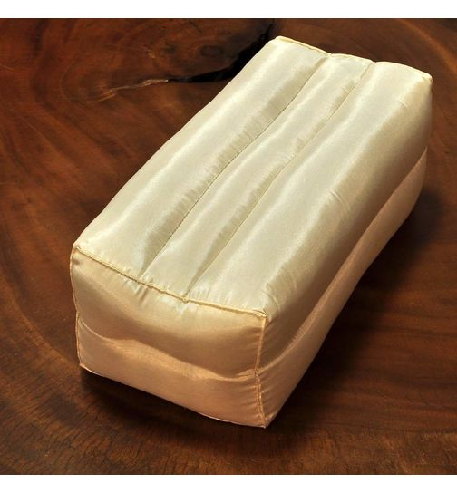 Small elongated Thai satin pillow white