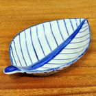 Thai ceramic serving bowl champaka leaf 21x13x4cm dessert