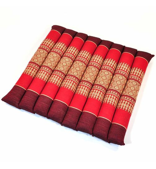 Thai seat cushion mat flowers red 35x35x4cm