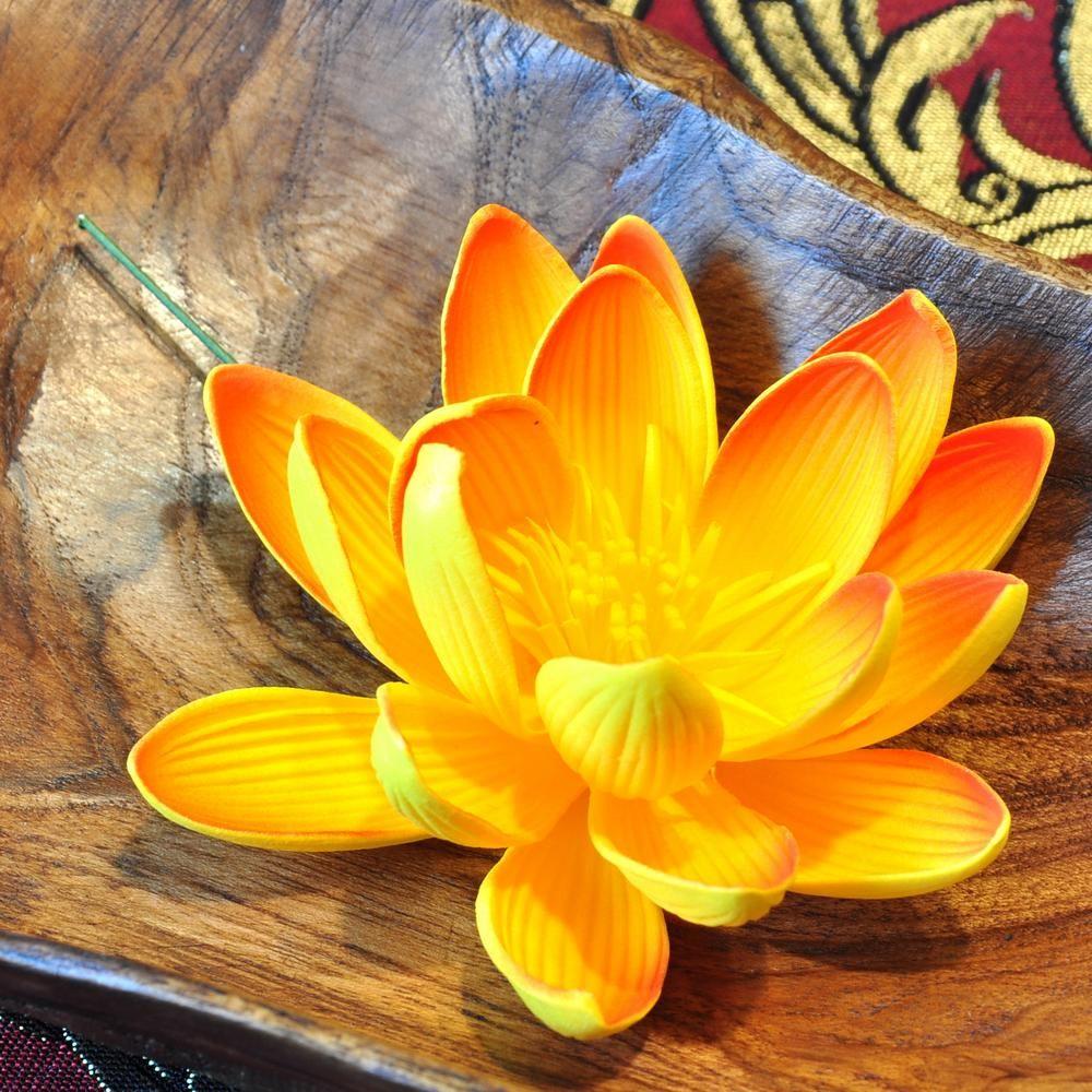 k nstliche thai blumen orange lotus wasserlilie. Black Bedroom Furniture Sets. Home Design Ideas