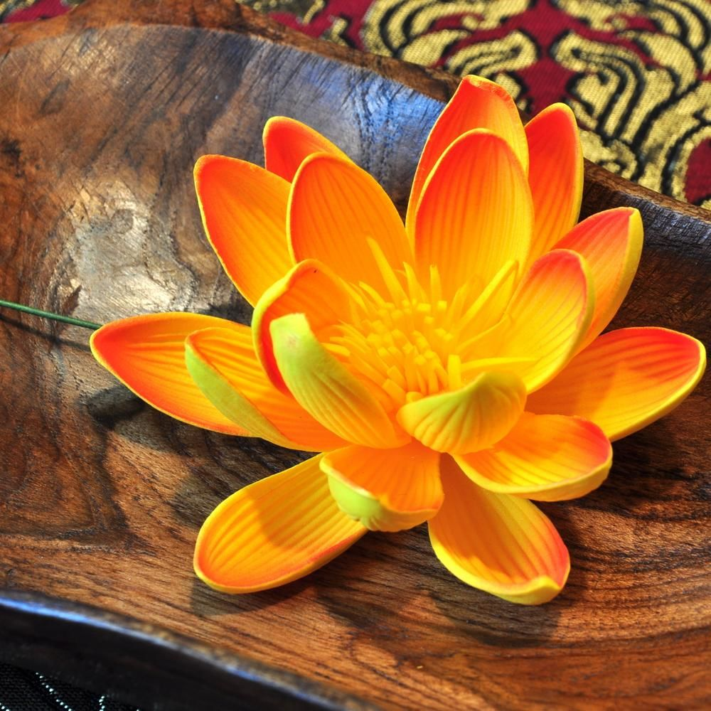 Lily lotus artificial flower orange 8cm water lily lotus artificial flower orange 8cm izmirmasajfo Images